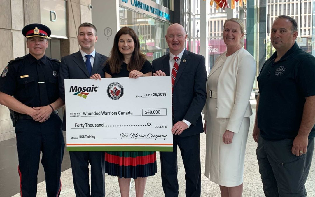 MOSAIC DONATES $40,000 TO WOUNDED WARRIORS CANADA TO SUPPORT SASKATCHEWAN FIRST RESPONDERS